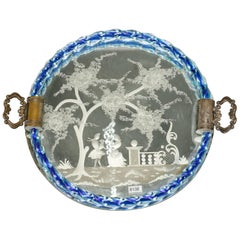 Venetian Etched Mirrored Dresser Tray with Blue Rim