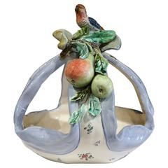 19th Century, French Hand-Painted Ceramic Barbotine Basket with Bird and Fruits