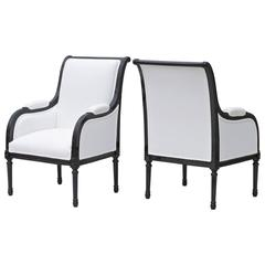 Directoire Styled Library Chairs in Black and White