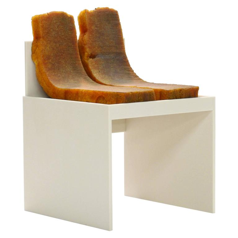 706 Chair - Modern Sculpture in Natural Rubber and Corian