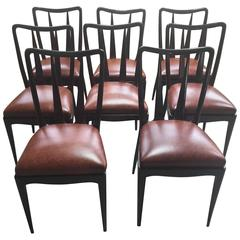 Eight Vittorio Dassi Italian Dining Chairs Leather Seats