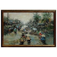 Impressionist Painting by Thai Artist Sujarit Hirankul, 1967 Siam