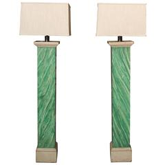 Faux Malachite Floor Lamps