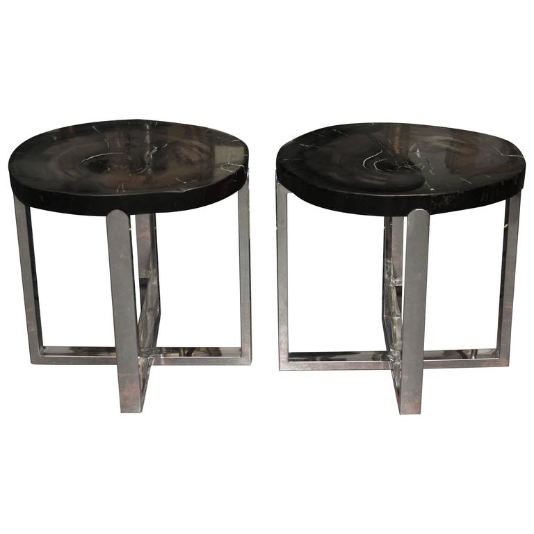 Pair Of Black Stone Slab Side End Tables With Chromed Bases 1