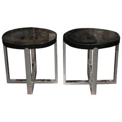 Pair of Black Stone Slab Side End Tables with Chromed Bases