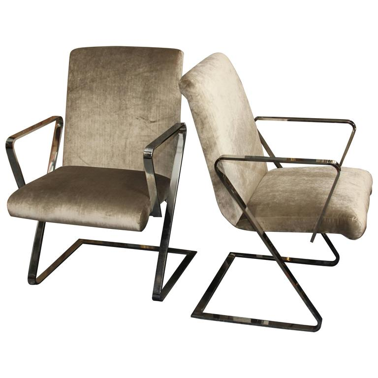 "Pair Mid-Century Chrome ""Spring ""Style Chairs in Silk Velvet For Sale"