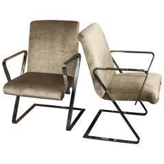 "Pair Mid-Century Chrome ""Spring ""Style Chairs in Silk Velvet"