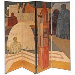 Rare Salvador Fiume Four-Panel Screen