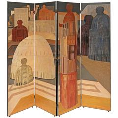 Rare Salvador Fiume Four-Panel Screen
