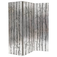 Arenson Studios Bamboo Pattern Three-Panel Screen