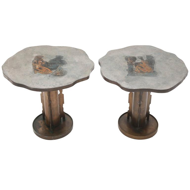 Philip and Kelvin LaVerne Apres Picasso Side Tables For Sale