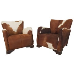 Pair of Unique French Smoking Chairs in Stunning Cowhide