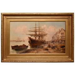 """a Busy Harbour"" by William Edward Webb"