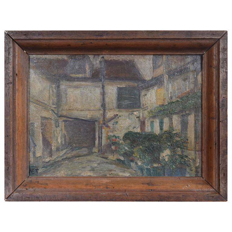 French Oil on Panel Painting of a Courtyard Mounted in a Walnut Frame