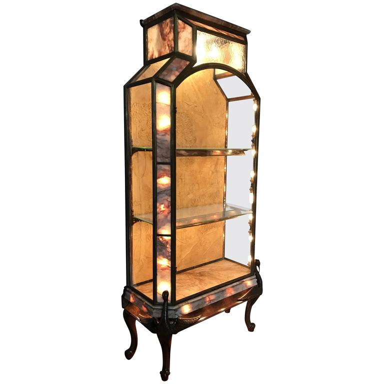 Stunning French Art Deco Bronze, Glass, Marble Carved Wood Vitrine-Display Case