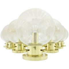 One of Ten Limburg Glass and Brass Flush Mount Globe Lights or Wall Sconces