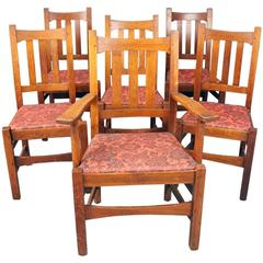 Antique Set of Six Stickley Brothers Arts & Crafts Mission Oak Dining Chairs
