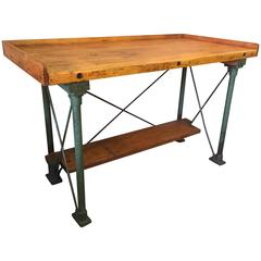 Wood and Iron Industrial Workbench, 1940s