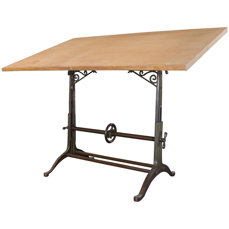 Drafting Table Antique  Ornate Vintage Industrial Tilt-Top Cast Iron and Wood For Sale