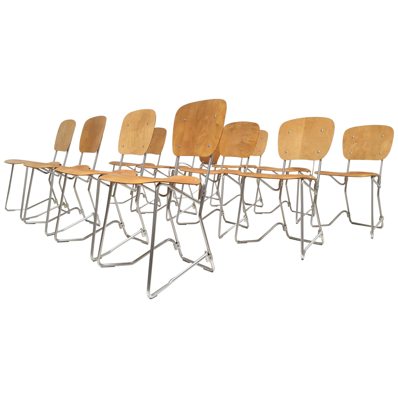 12 Birch and Aluminium Chairs by Armin Wirth for Aluflex, Switzerland, 1951