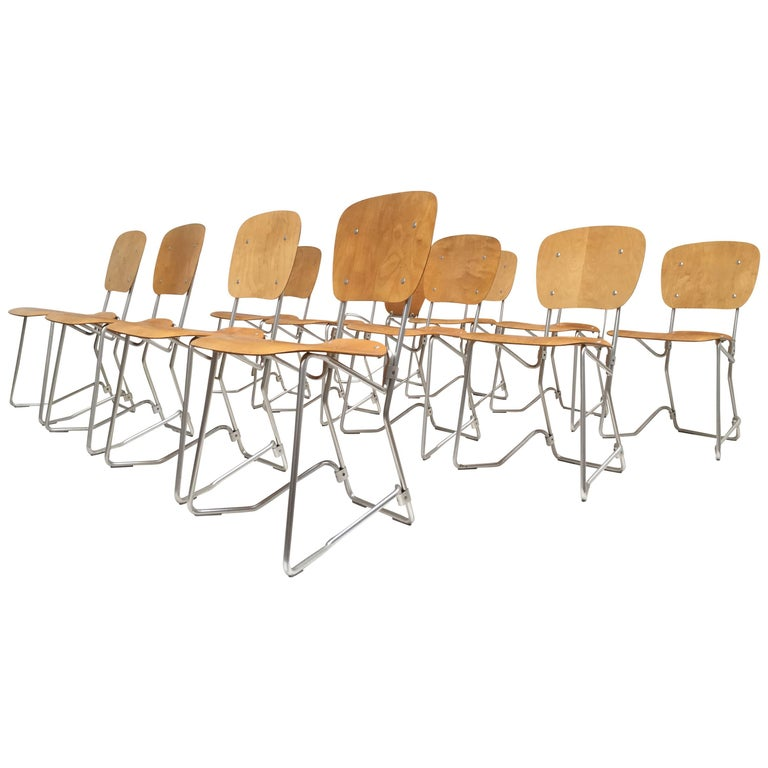 12 Birch and Aluminium Chairs by Armin Wirth for Aluflex, Switzerland, 1951 For Sale