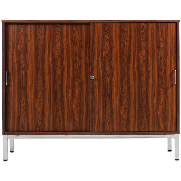 1970s Sideboard with Sliding Doors and Chrome Base Rosewood Metal Cabinet