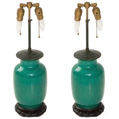 Pair of Green Chinese Table Lamps