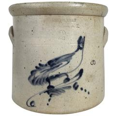 Stoneware Crock with Bird Mid-19th Century, Two Gallon
