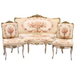 French Louis XV Settee and Side Chairs