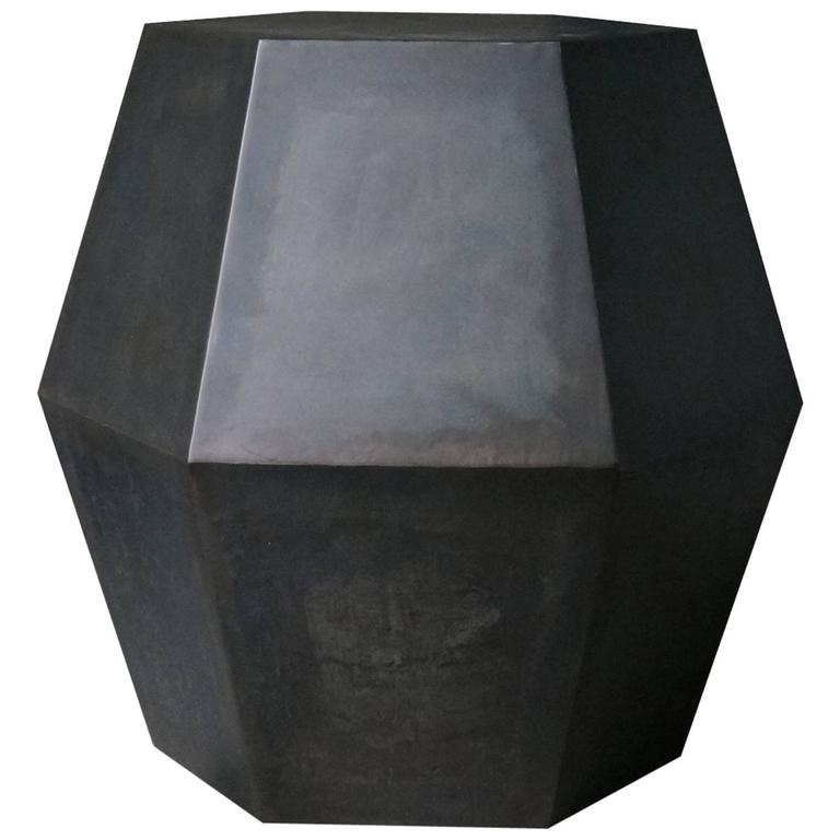 Tamino Hex Modern Side Table in Steel or Parchment from Costantini