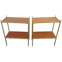 Chic Pair of 1960s, Italian Regency Style Mahogany and Brass Side Tables