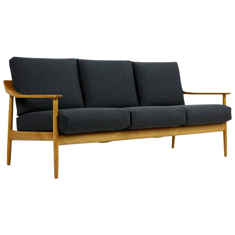 1950s Wilhelm Knoll Antimott Cherrywood Sofa Mid Century Modern New Upholstery For Sale At 1stdibs