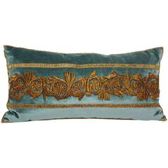Antique Raised Gold Metallic Embroidery Pillow