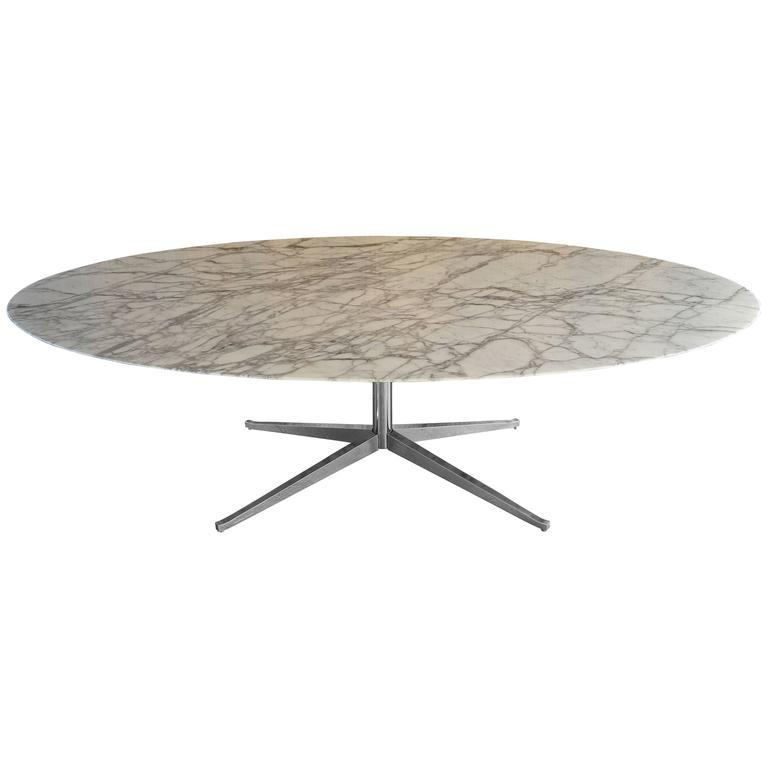 Florence Knoll White Calacatta Oval Marble Dining Table Desk