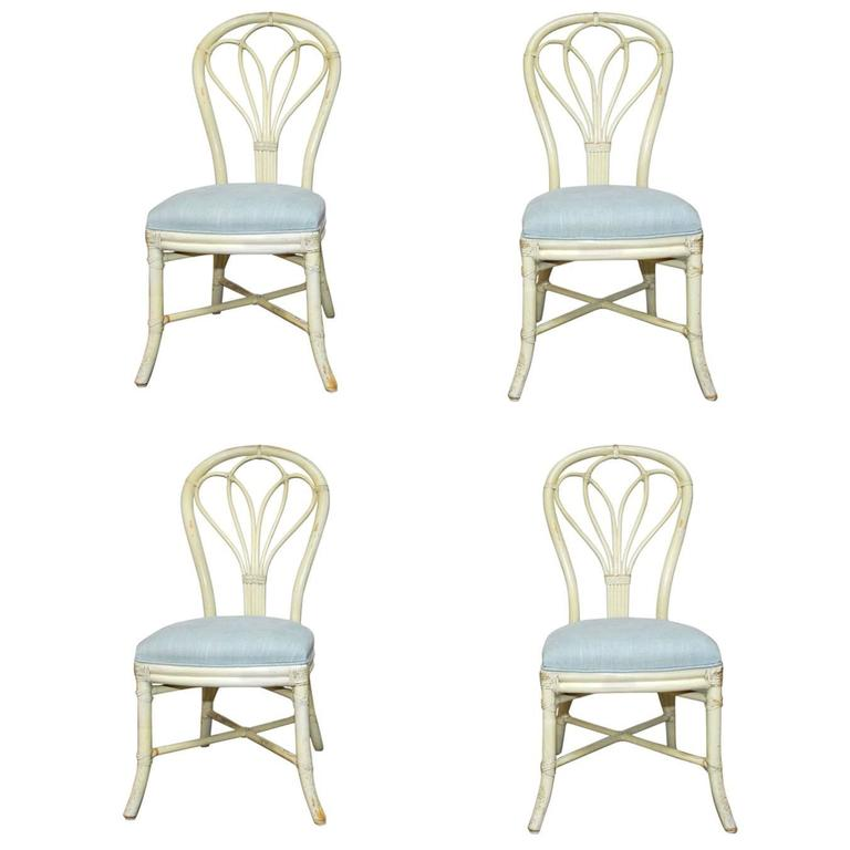 Set Of Four McGuire Lacquered Rattan Bistro Chairs For Sale