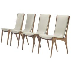 Shield Back Dining Chairs Model VK 101, Set of Four by Vladimir Kagan
