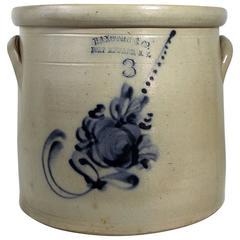 Stoneware Crock Mid-19th Century Three Gallon, Signed