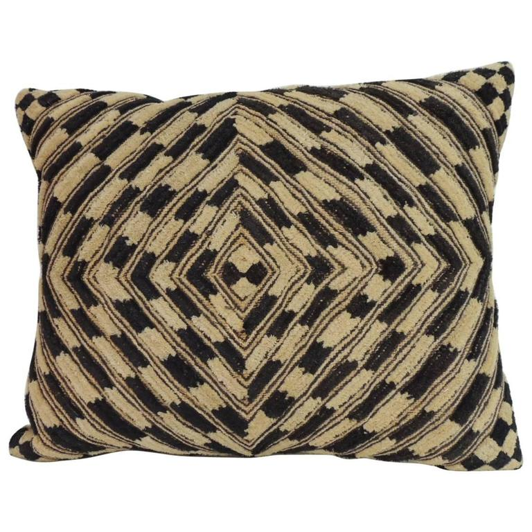 Vintage Decorative Pillow : Vintage Kasai Velvet Raffia African Artisanal Textile Decorative Pillow at 1stdibs