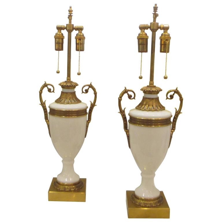 Pair of French Opaline Glass, Bronze-Mounted Lamps in the Neoclassical Manner 1