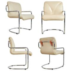 Guido Faleschini Italian Leather Dining Chairs by Mariani for Pace, Set of Four