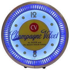 1950s Neon Spinner Advertising Clock Champagne Velvet Beer