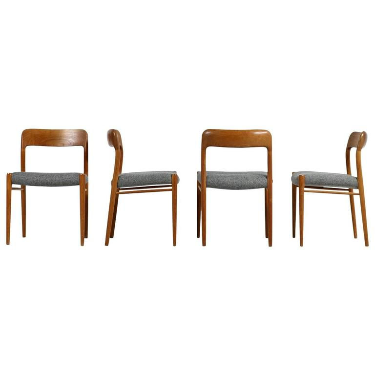 Fantastic Set of Four Niels Moller Teak Dining Chairs Model 75 Danish Modern