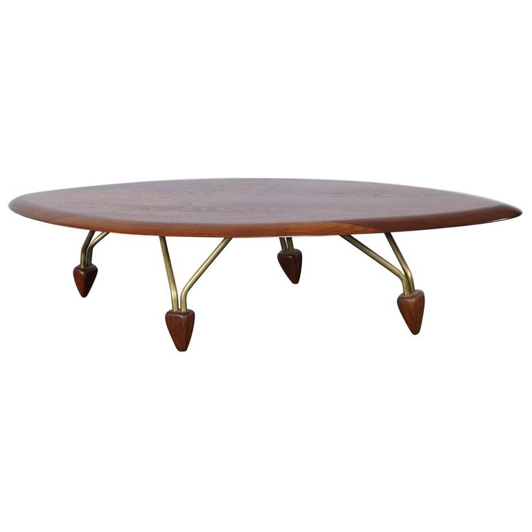 Vintage Walnut Surfboard Coffee Table By John Keal For Sale At 1stdibs
