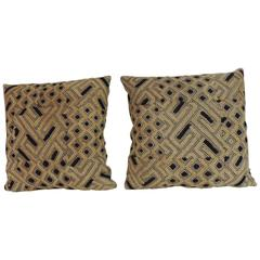 Pair of 19th Century Kuba Squares African Decorative Pillows