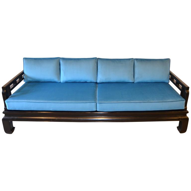 Black Lacquer Sofa Baker Style With Chippendale Fretwork And Blue Velvet For Sale At 1stdibs