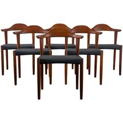 Six Danish Modern Teak Dining Chairs by Harry Ostergaard