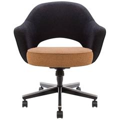 Saarinen for Knoll Executive Armchair in Original Two-Tone Boucle, Swivel Base