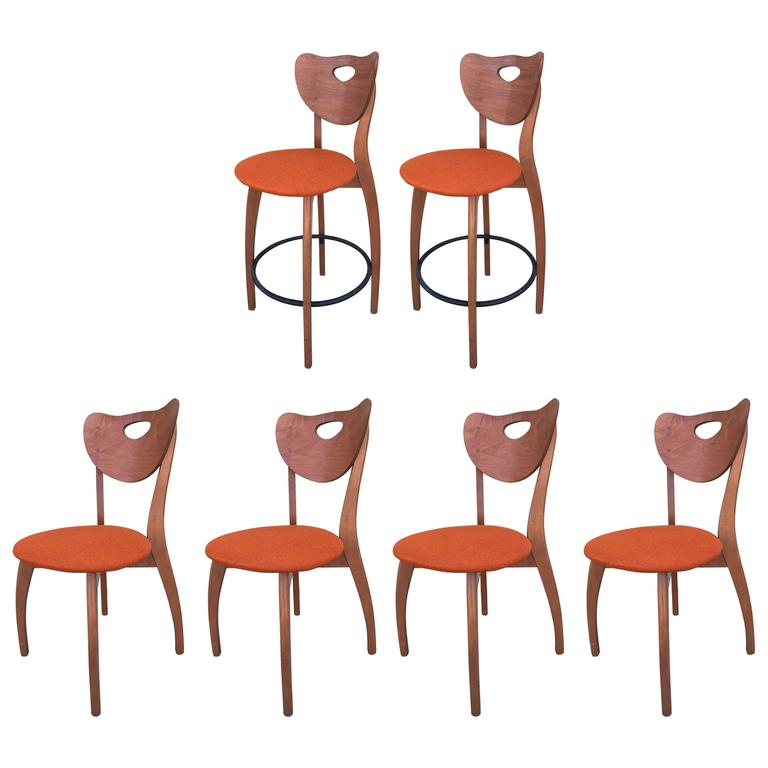 Set Of Four Unusual Design Danish Modern Chairs And Two