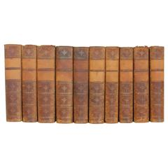 Collection of Ten Leather Volumes of the Works of William Makepeace Thackeray