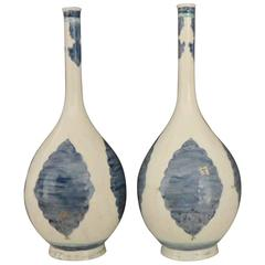 Pair of Large Blue and White Samson Persian Bottle Vases